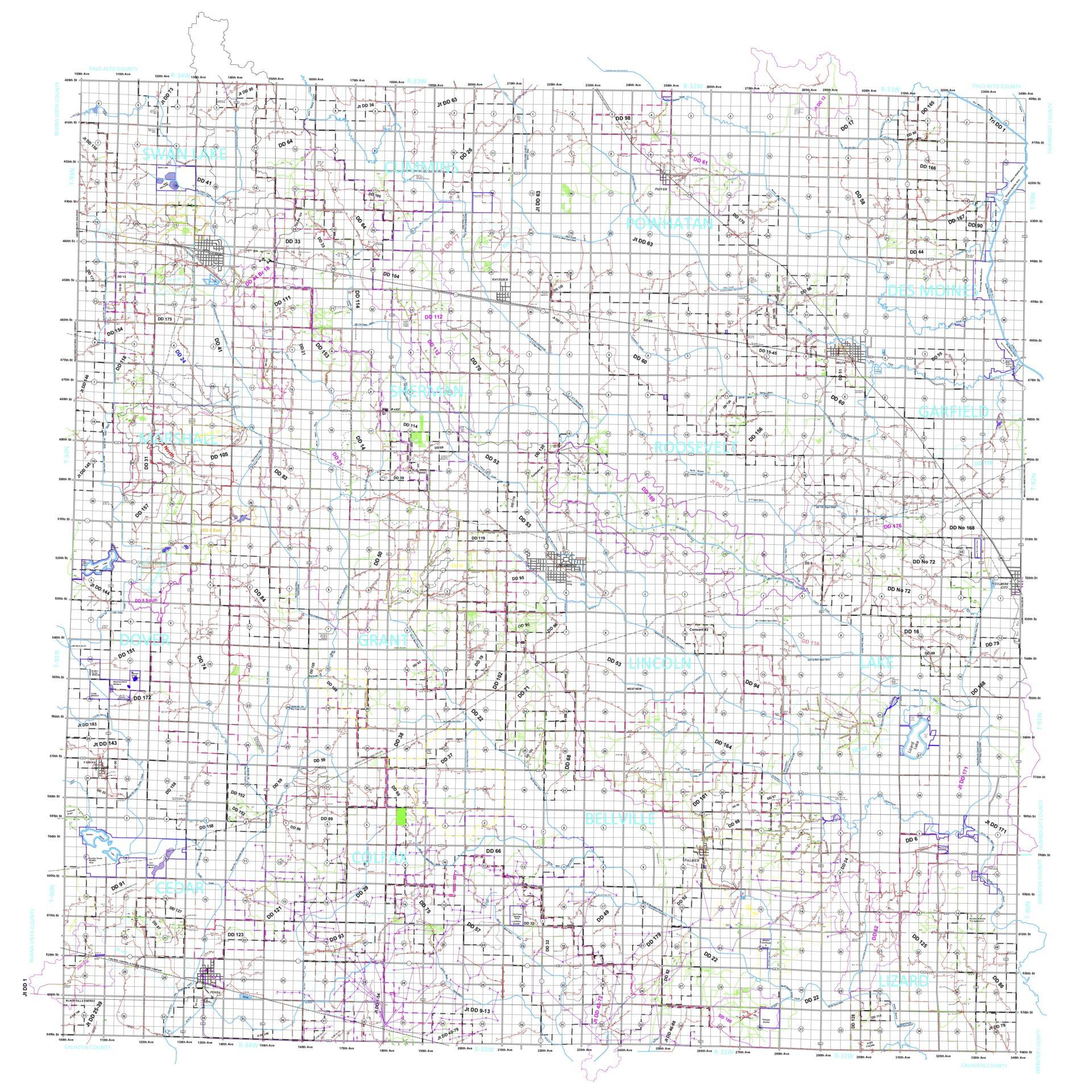 Pocahontas County Drainage Map